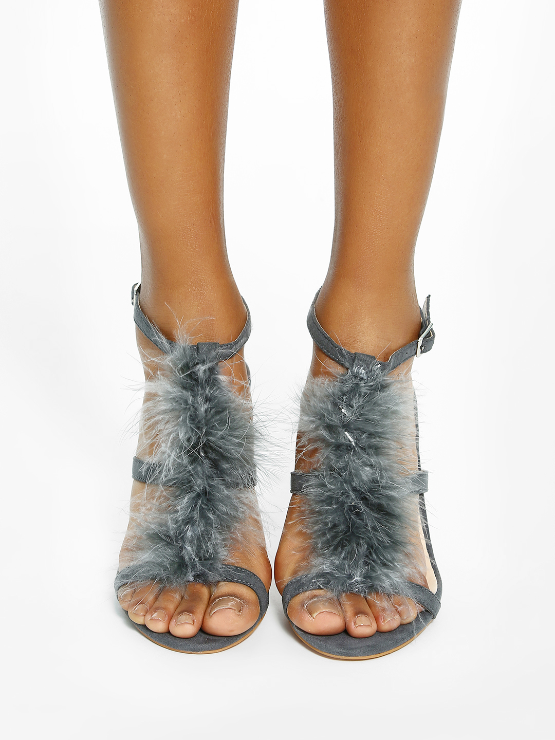 Intoto Grey Suede Furry Heeled Sandals 1