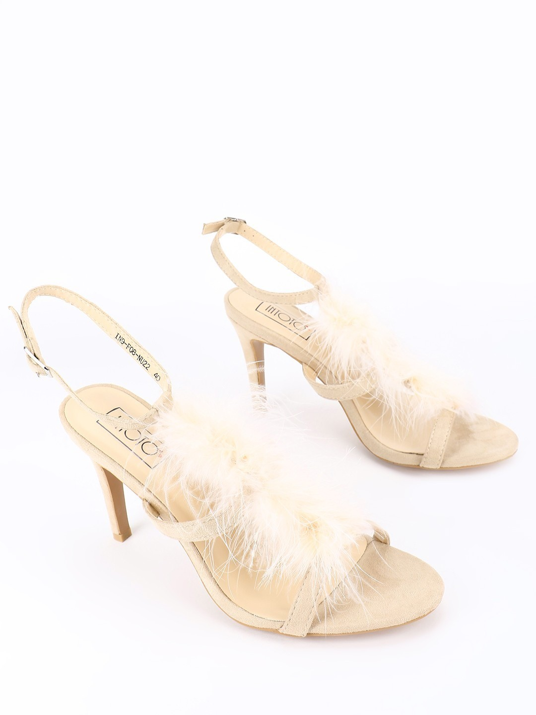 Intoto Nude Suede Furry Heeled Sandals 1