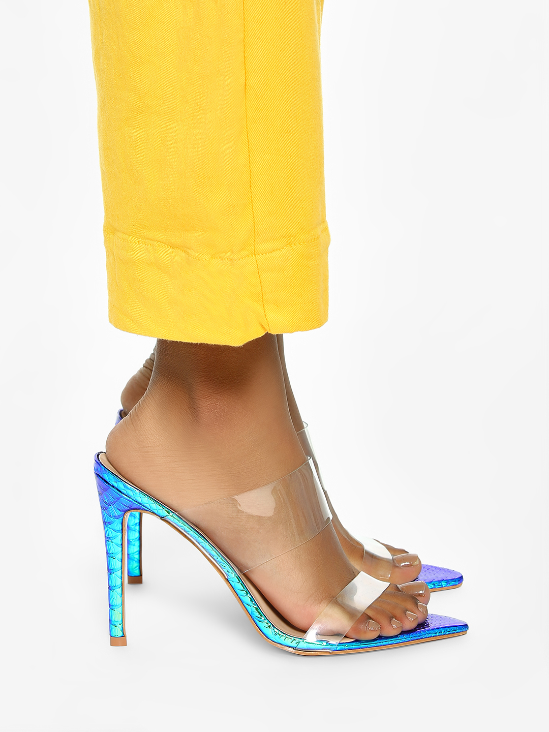 Intoto Blue Snakeskin Holographic Clear Heeled Sandals 1