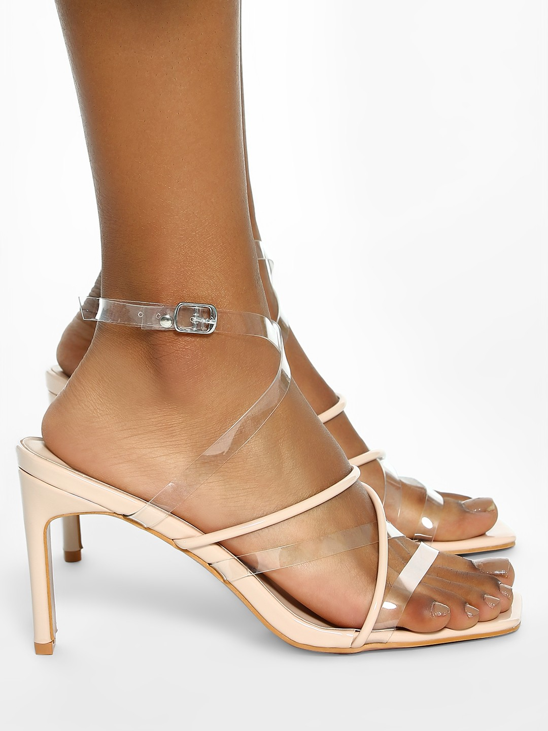 Intoto Nude Tubular Clear Strap Heeled Sandals 1