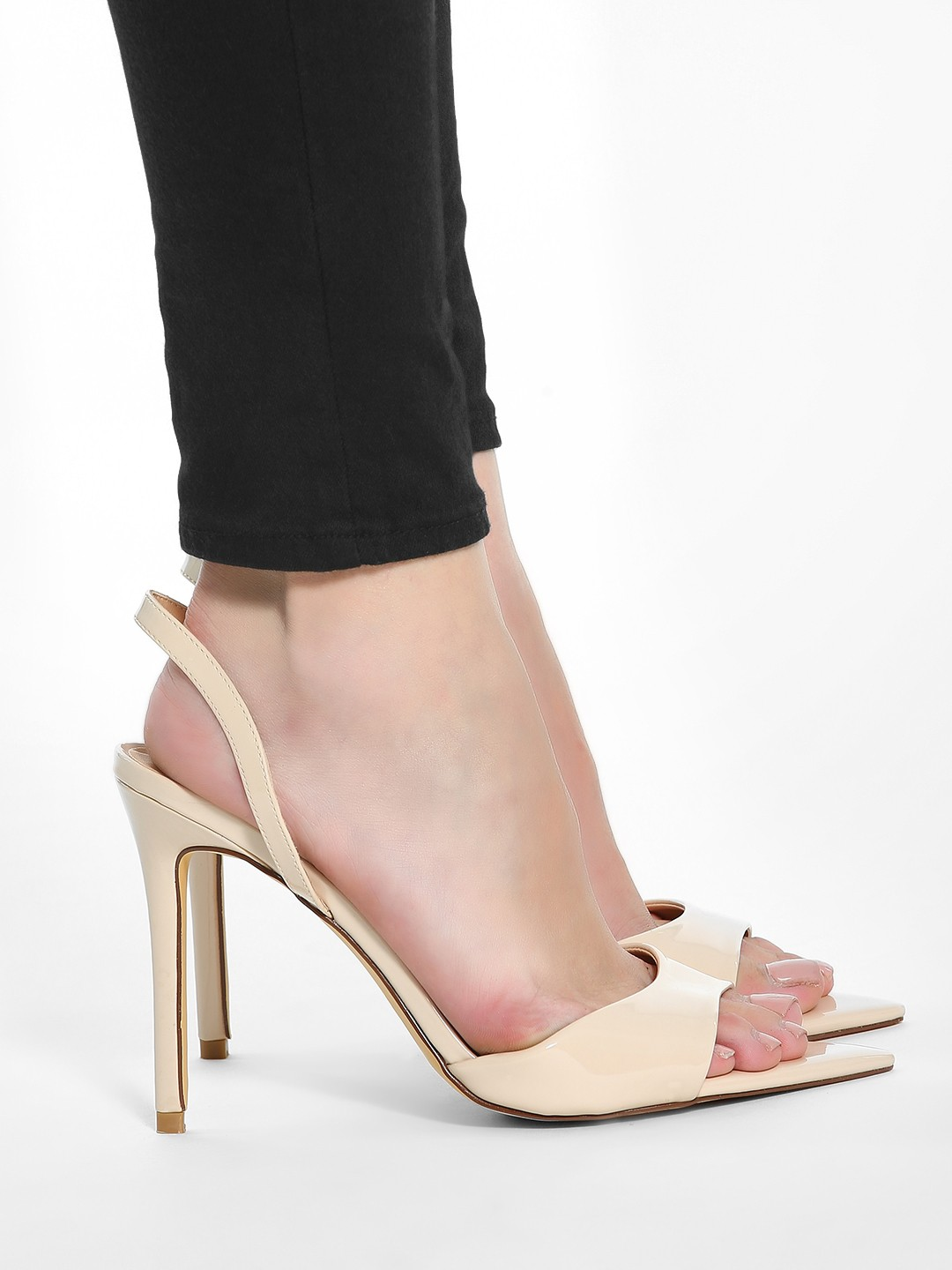 Intoto Nude Patent Pointy Toe Heeled Sandals 1