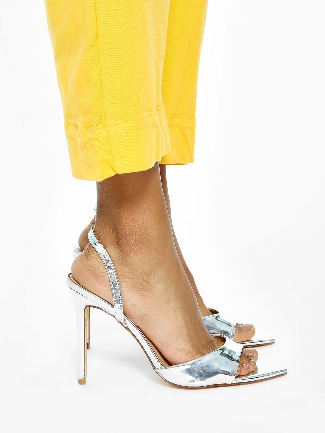 Intoto Silver Pointed Toe Metallic Patent Heeled Sandals 1