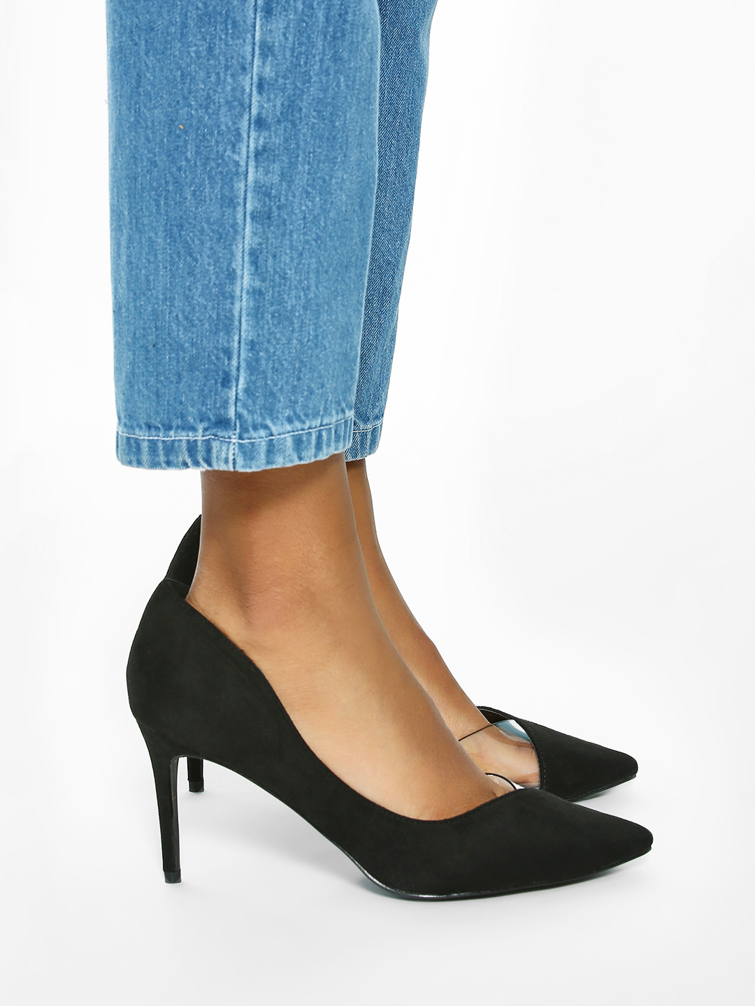 Intoto Black Half Clear Toe Suede Pumps 1