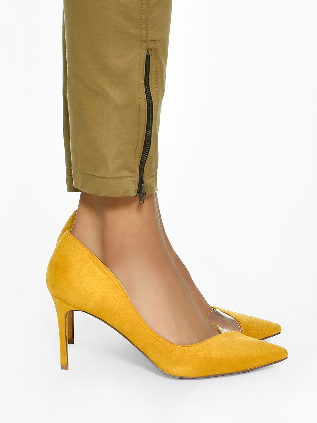 Intoto Yellow Half Clear Toe Suede Pumps 1