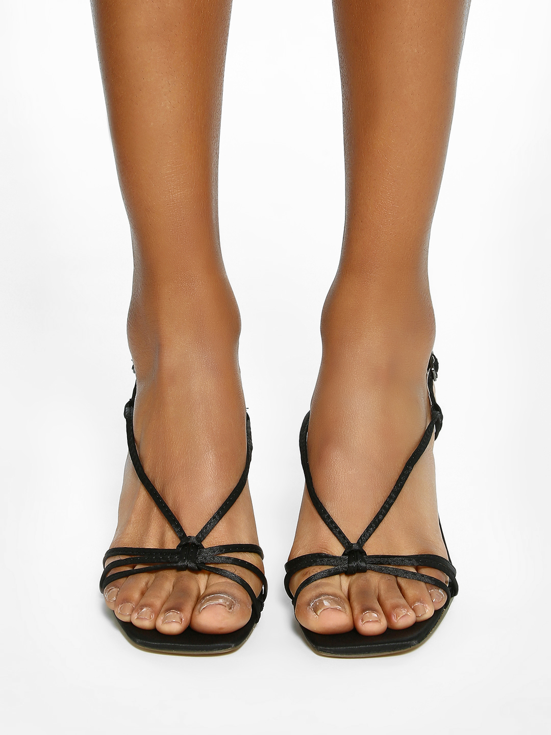 Intoto Black Strappy Square Toe Heeled Sandals 1