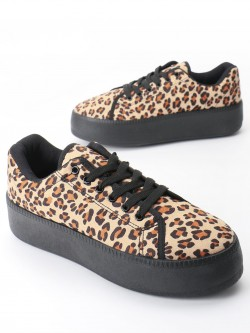 Truffle Collection Leopard Print Suede Flatform Shoes