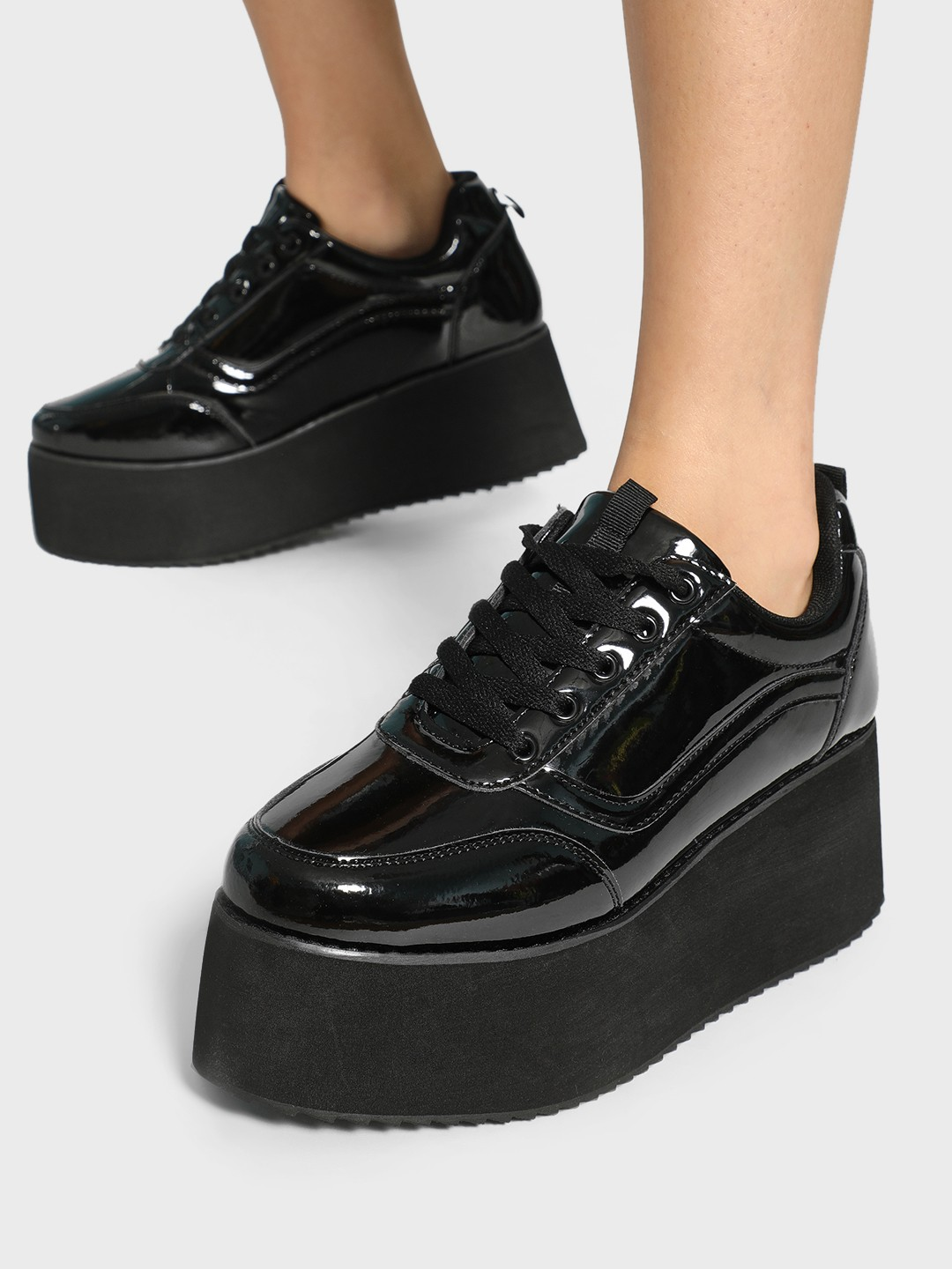 Truffle Collection Black Patent Flatform Sneakers 1