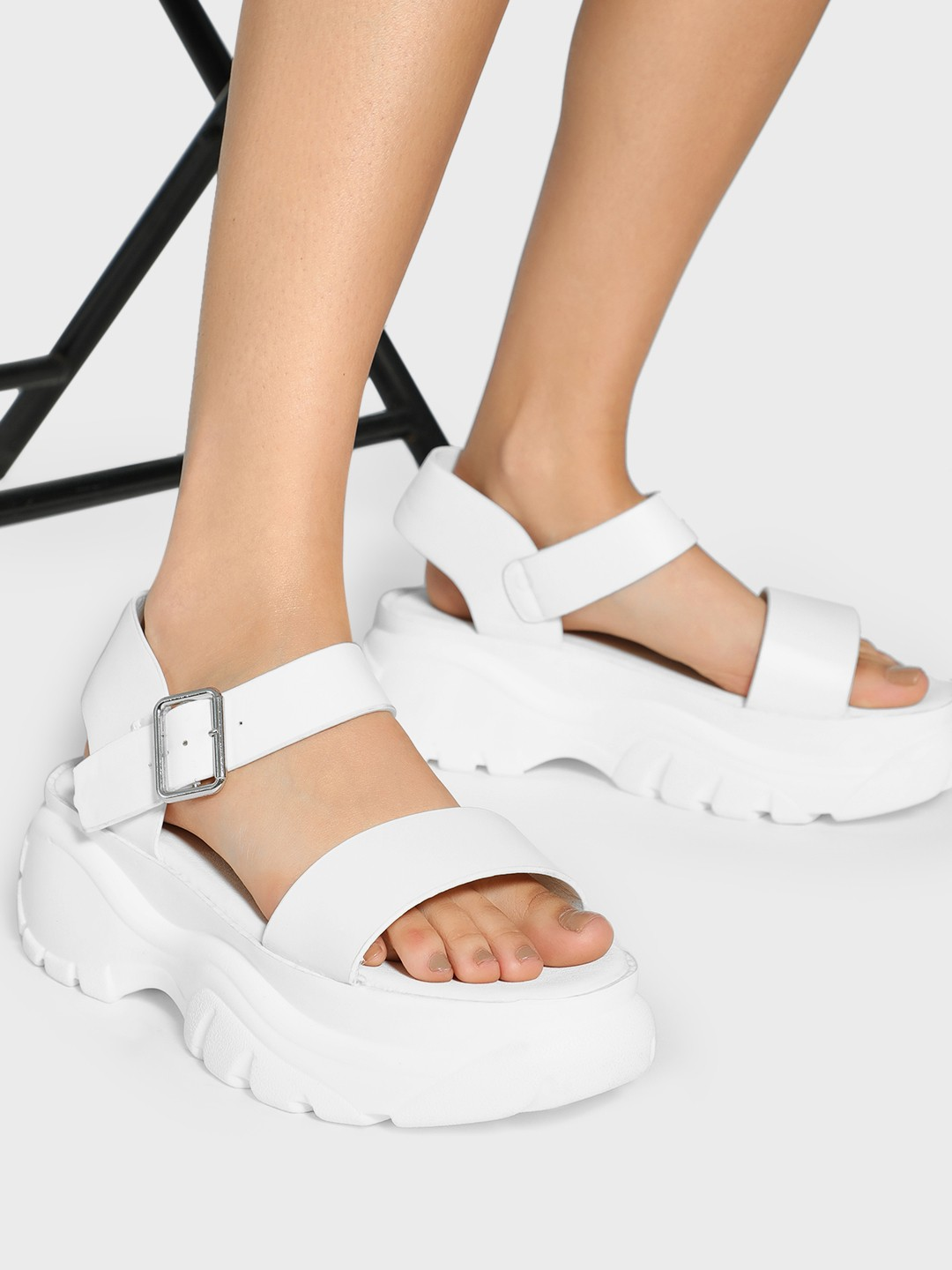 Truffle Collection White Basic Chunky Sole Sandals 1