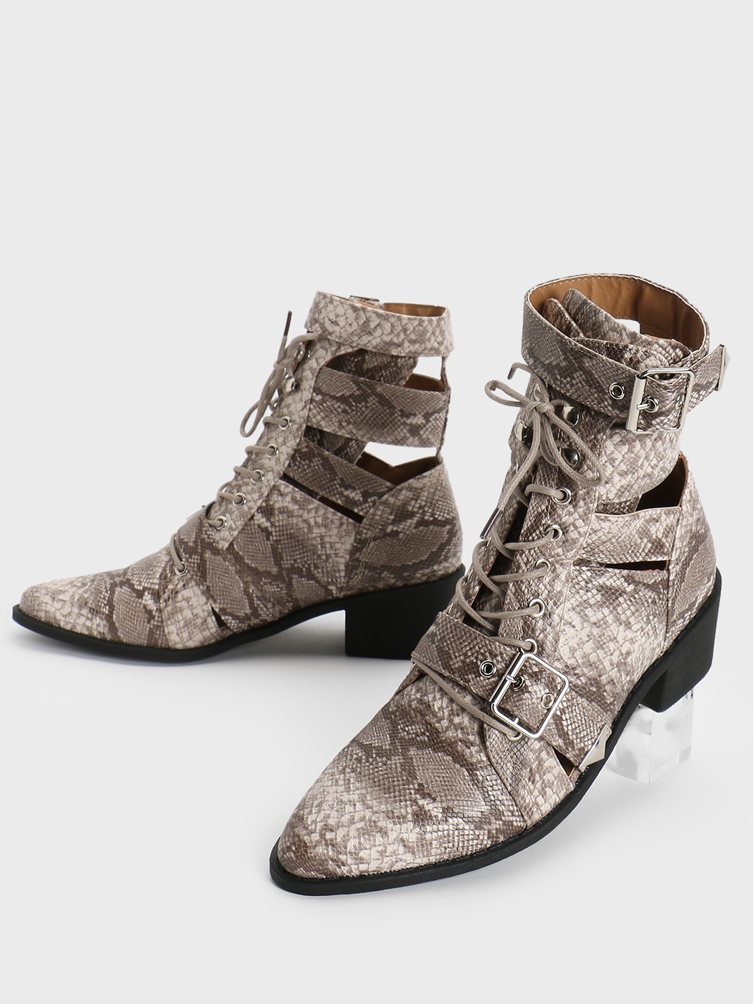 Truffle Collection Multi Snakeskin Lace-Up Cut-Out Boots 1