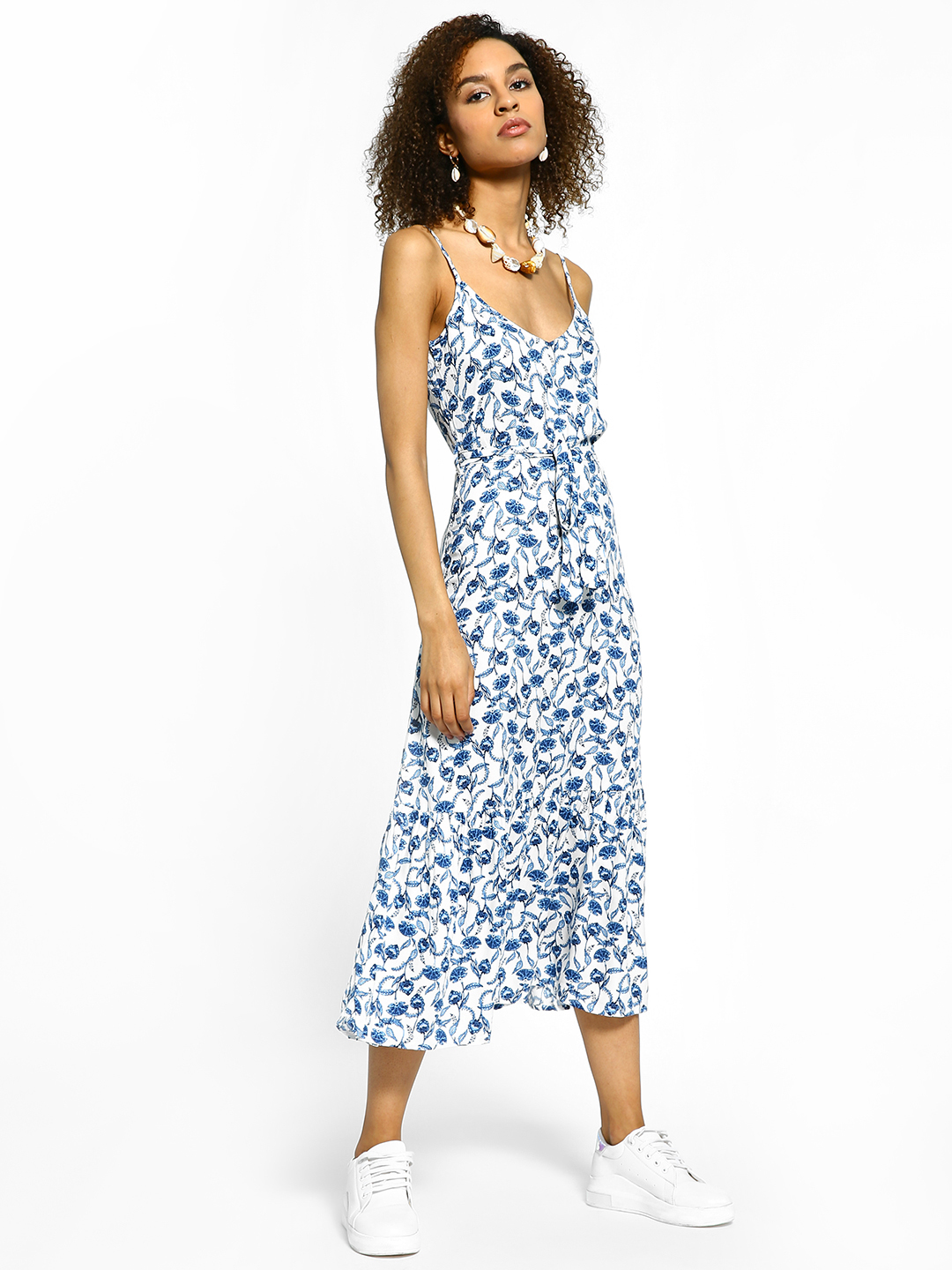 Femella White Floral Print Tie-Knot Midi Dress 1