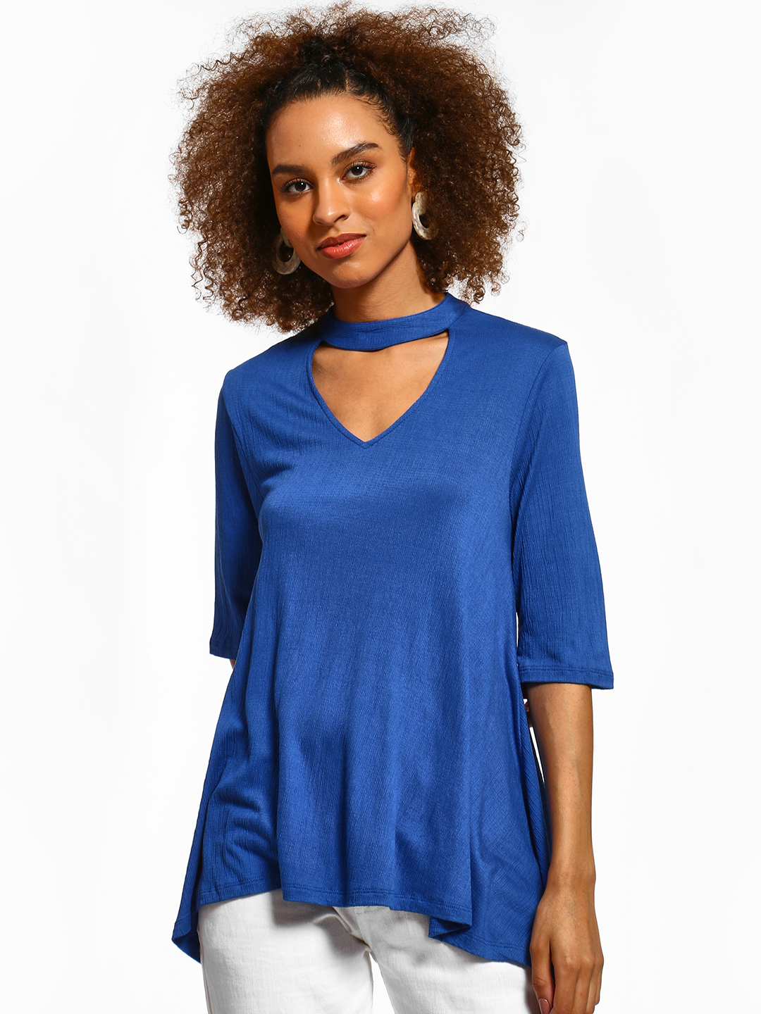 Femella Blue Choker Neck Flared Top 1