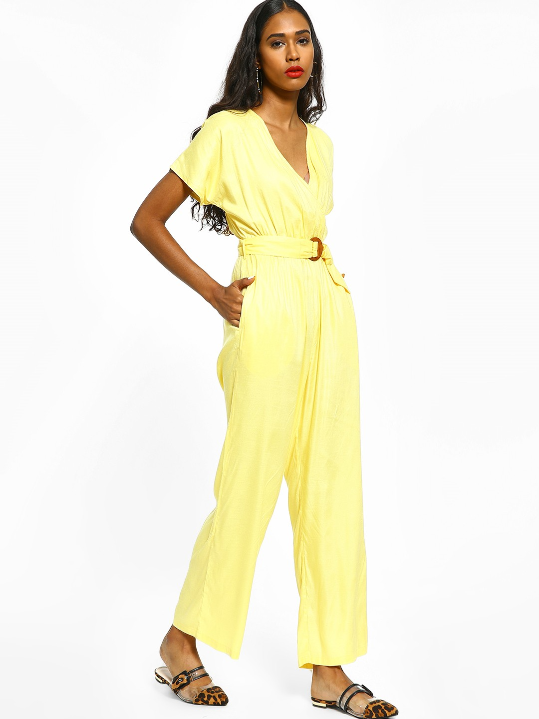 Femella Yellow Overlay V-Neck Belted Jumpsuit 1
