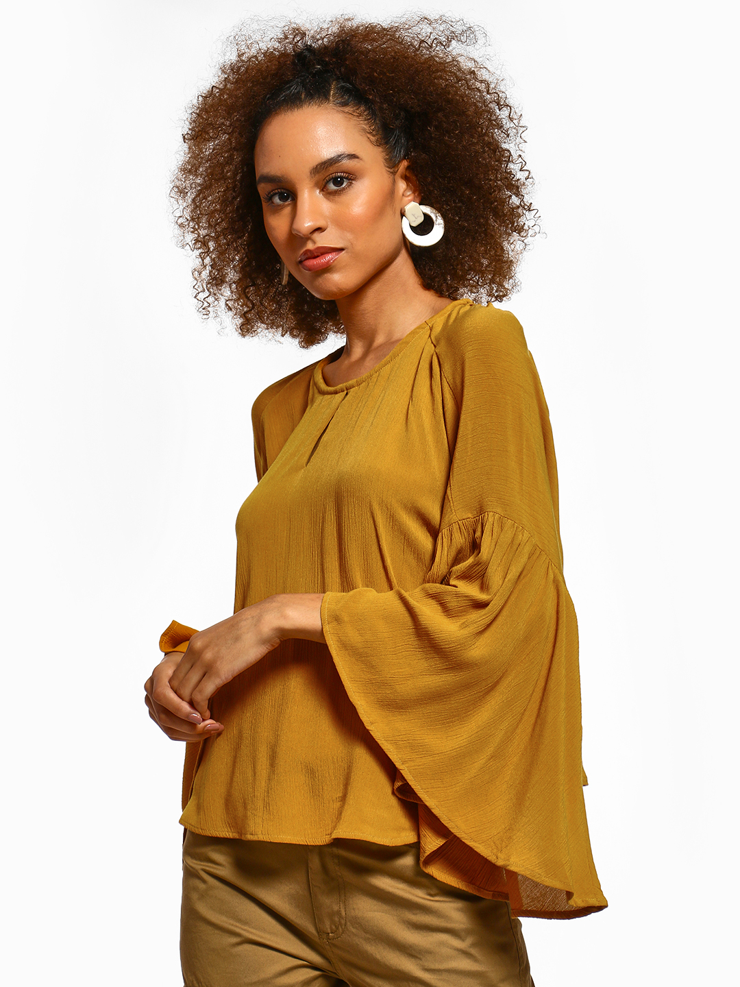 Femella Mustard Extreme Flared Sleeve Top 1