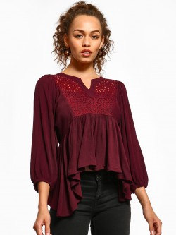 Femella Crochet Lace Yoke Flared Top