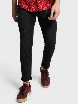 Adamo London Distressed Slim Fit Jeans