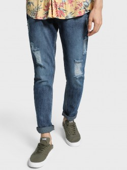 Adamo London Distressed Acid Wash Slim Jeans