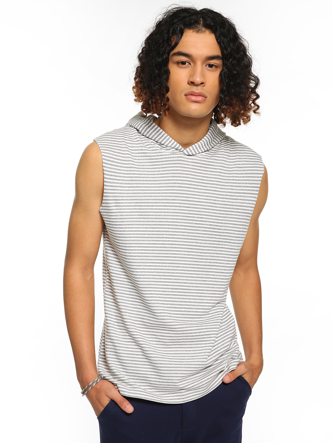 Garcon White Horizontal Stripe Sleeveless Hoodie 1