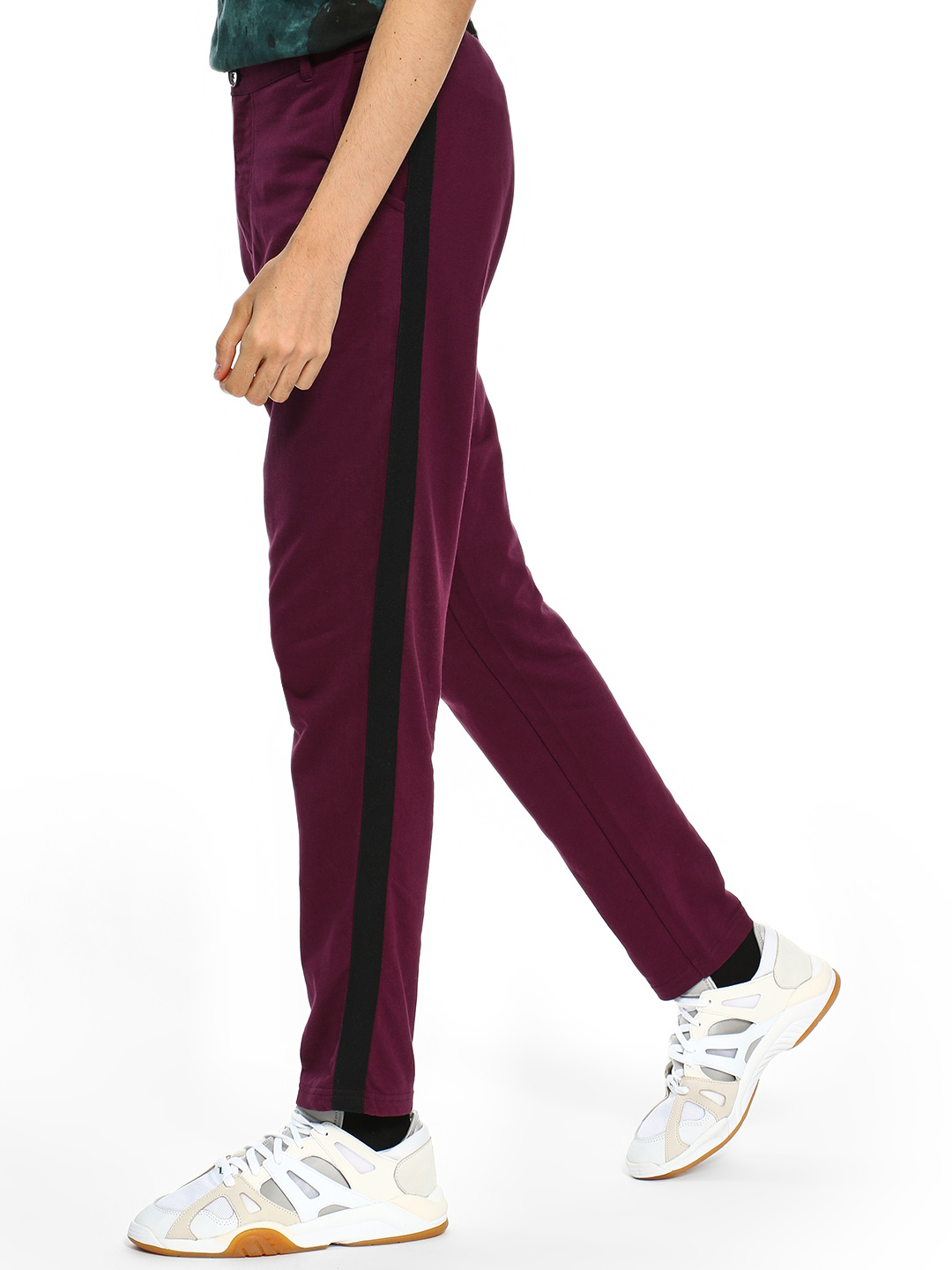 Garcon Maroon Knitted Side Tape Trousers 1