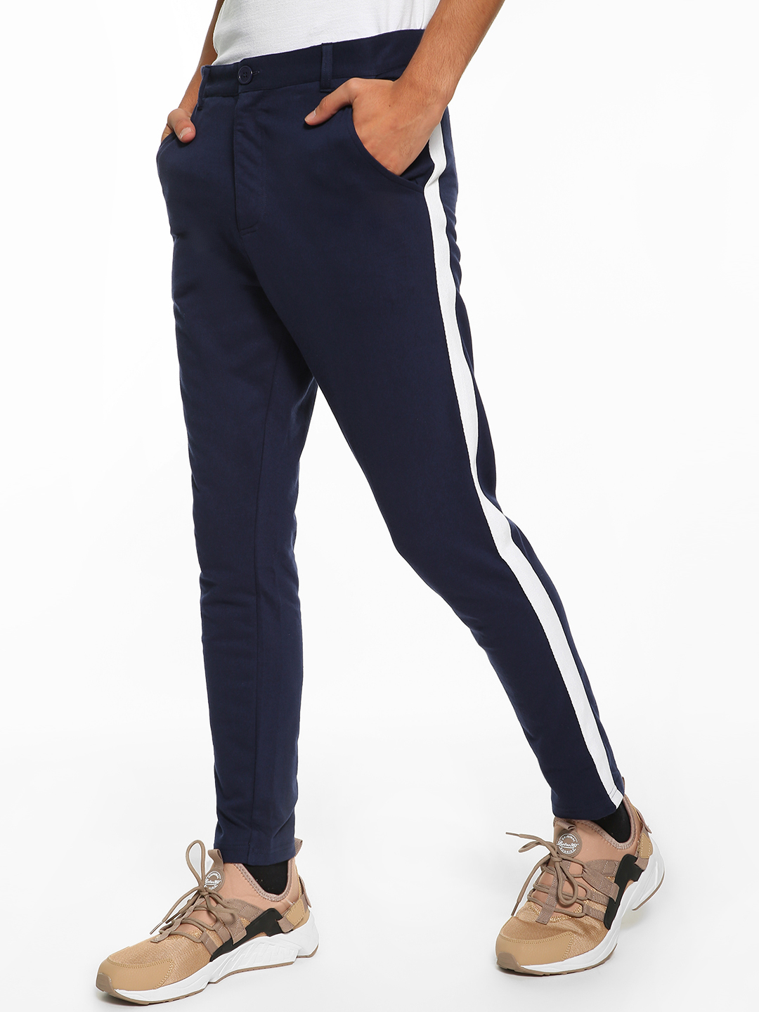 Garcon Navy Knitted Side Tape Trousers 1