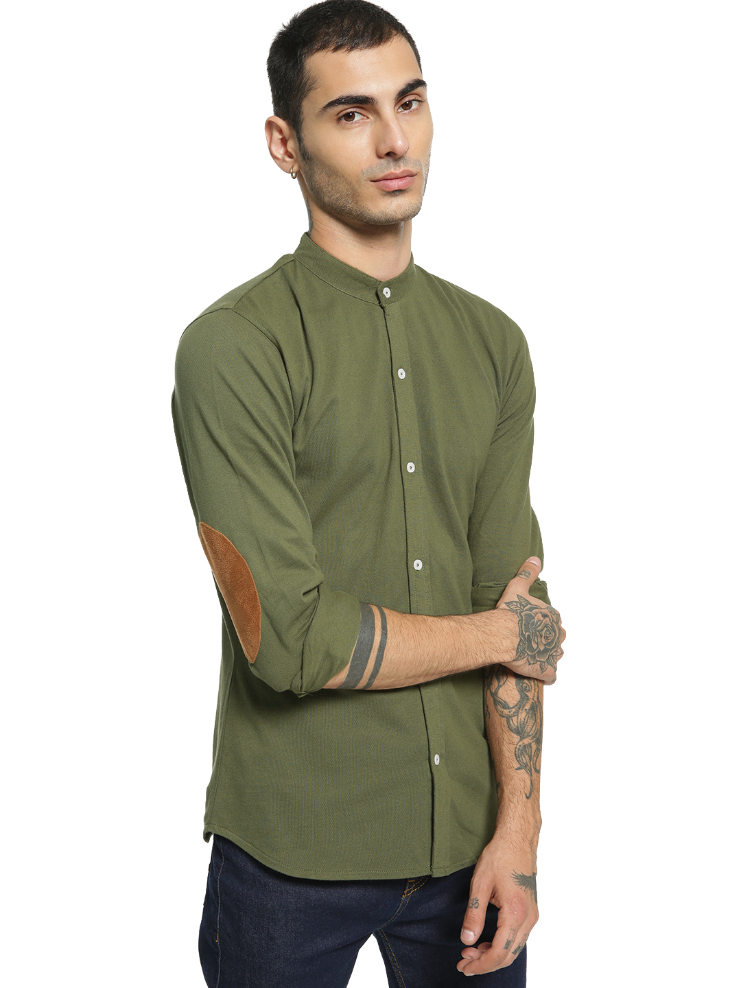 Garcon Green Elbow Patch Knitted Shirt 1