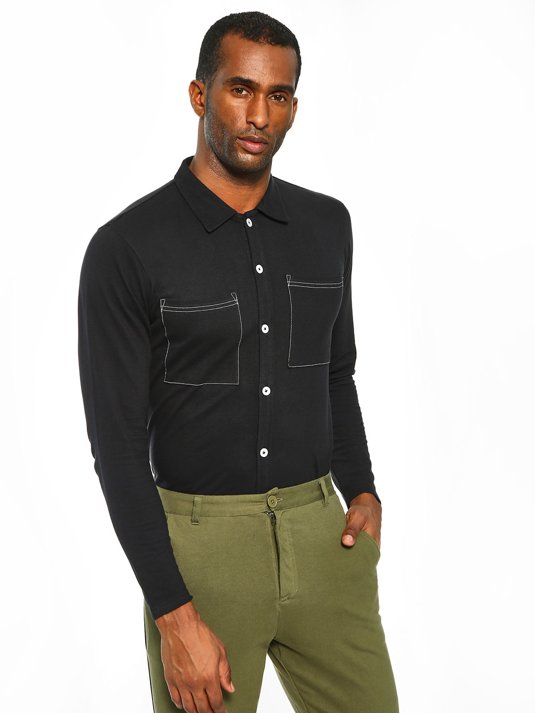 Garcon Black Pique Patch Pocket Shirt 1