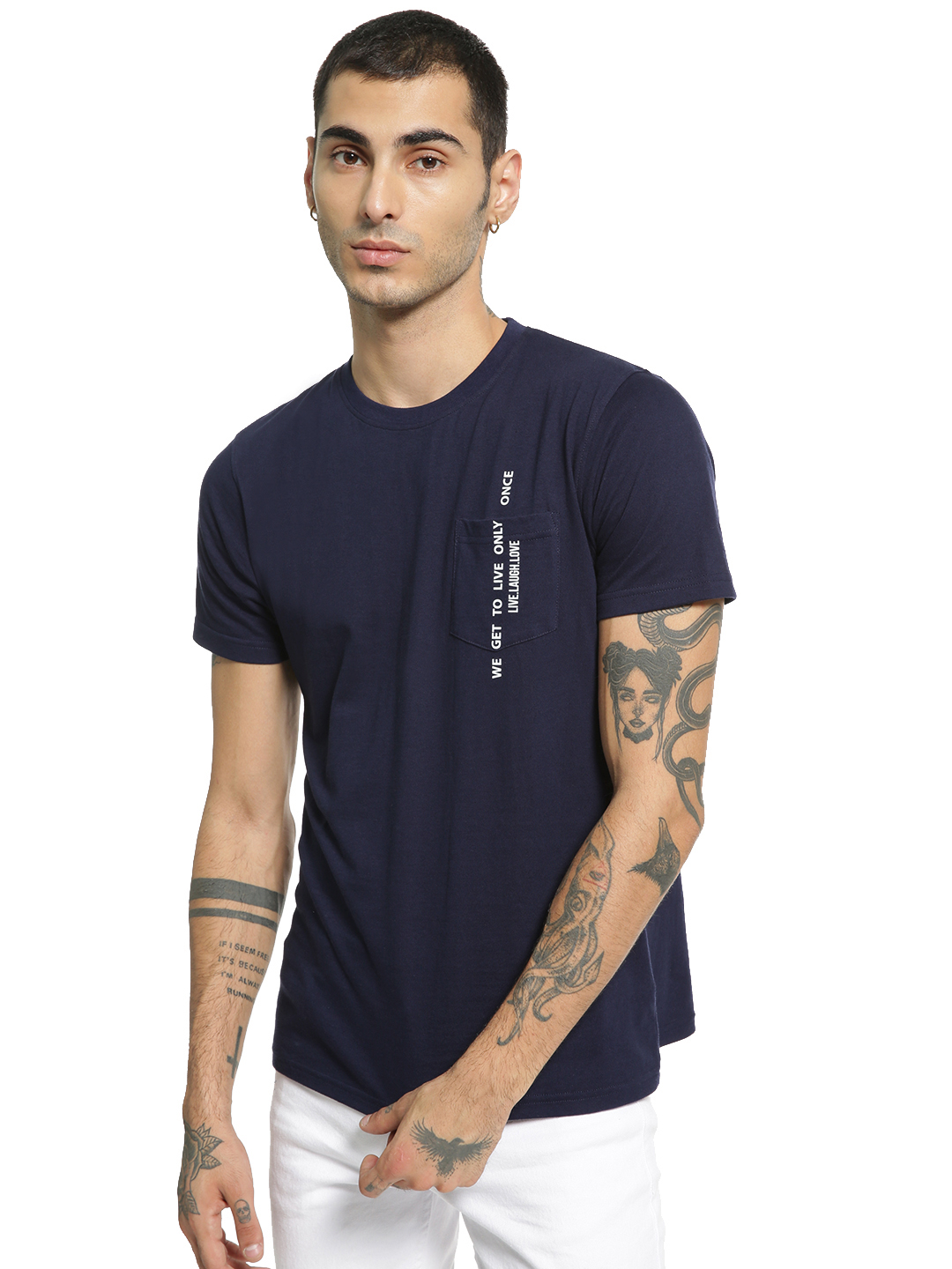 Garcon Navy Pocket Slogan Print T-Shirt 1