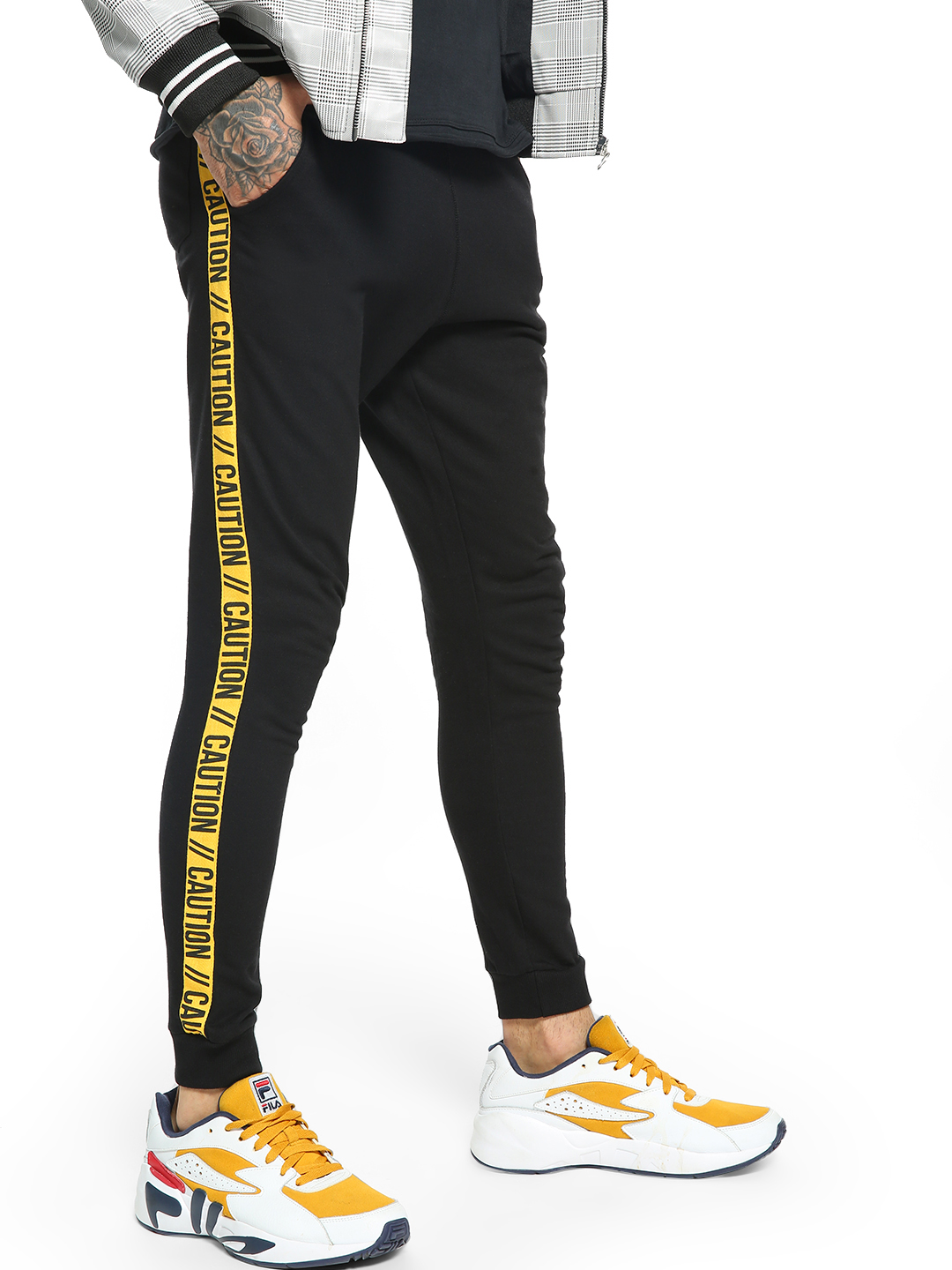 Garcon Black Side Tape Caution Print Joggers 1