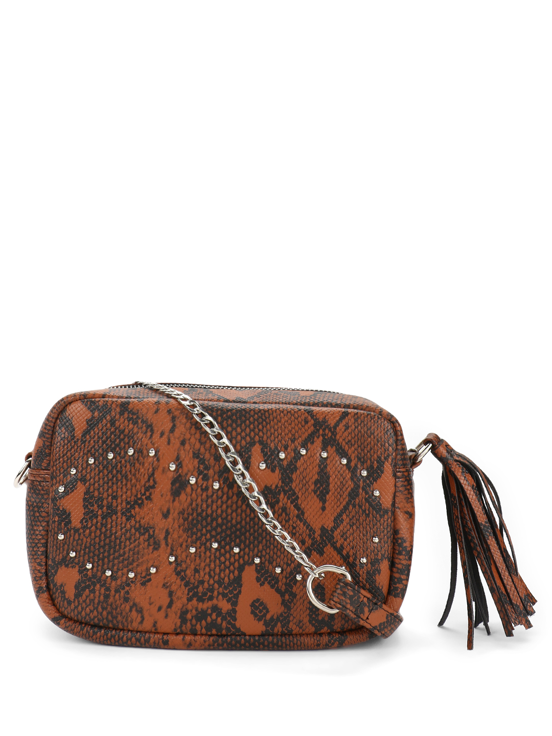 Paris Belle Brown Snakeskin Stud Detail Sling Bag 1