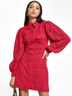 KOOVS Broderie Utility Shirt Dress