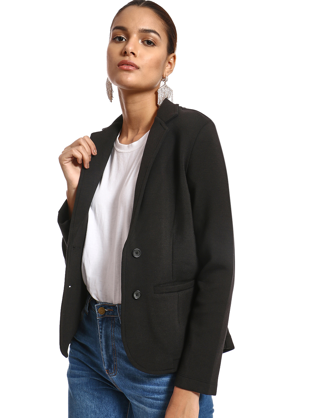 PostFold Black Knitted Long Sleeve Blazer 1