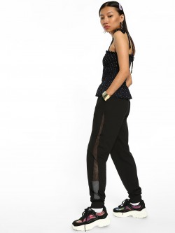 Beyond Clouds Mesh Panel High Waist Joggers