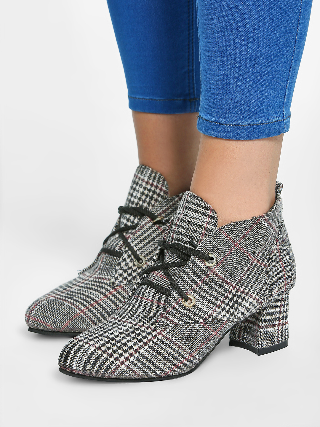EmmaCloth Grey Glen Check Heeled Ankle Boots 1