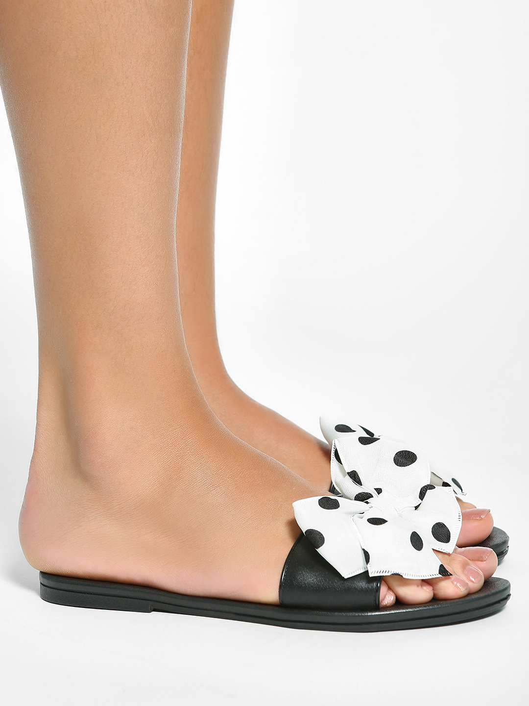 EmmaCloth White Polka Dot Bow Slides 1