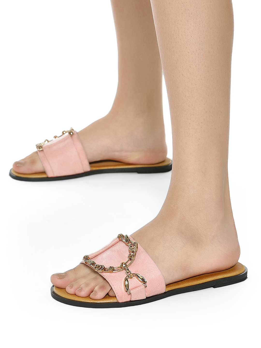 Sole Story Pink Diamante Embellished Chain Suede Flat Sandals 1