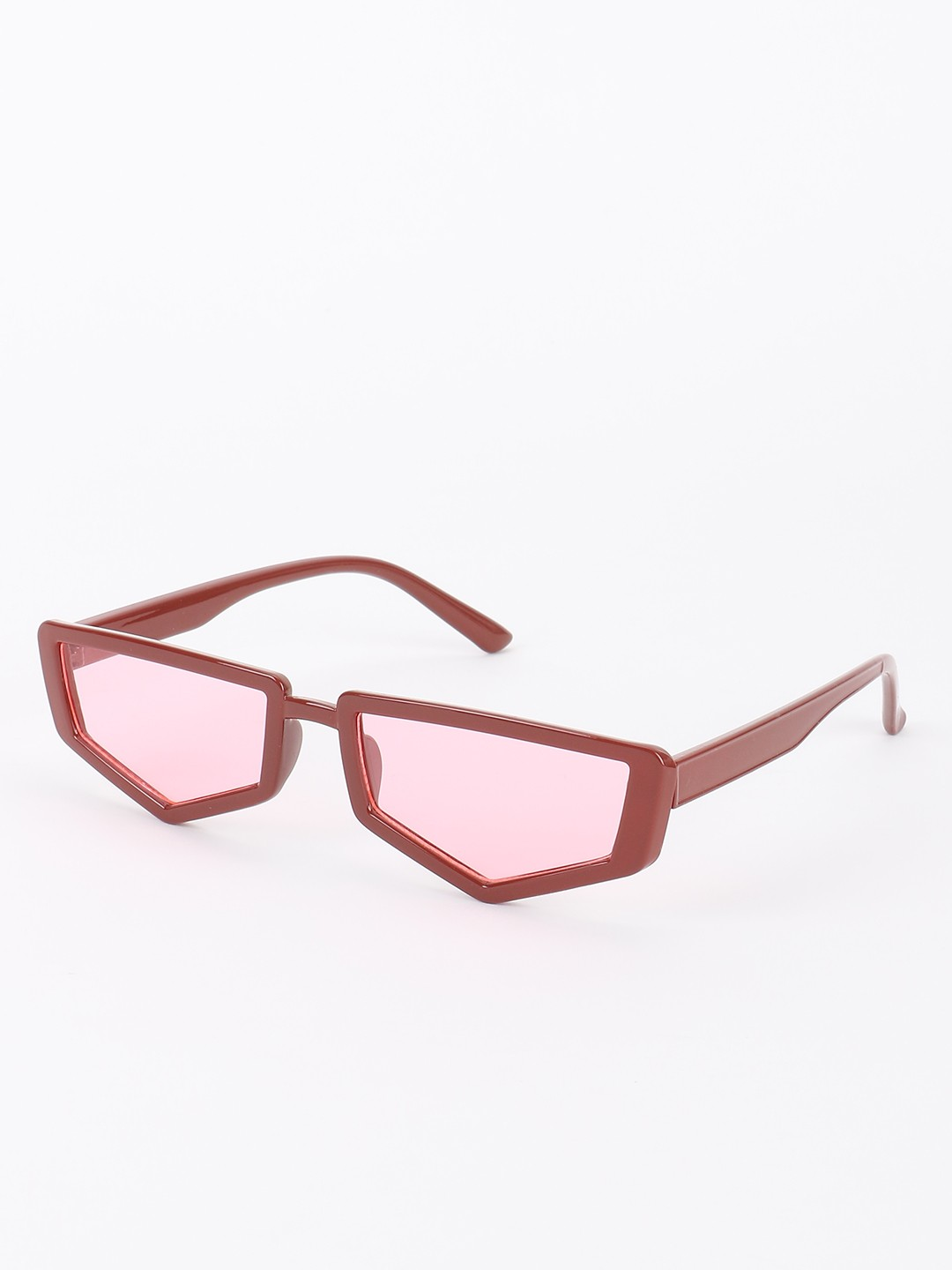 Sneak-a-Peek Red Pentagon Shape Classic Sunglasses 1