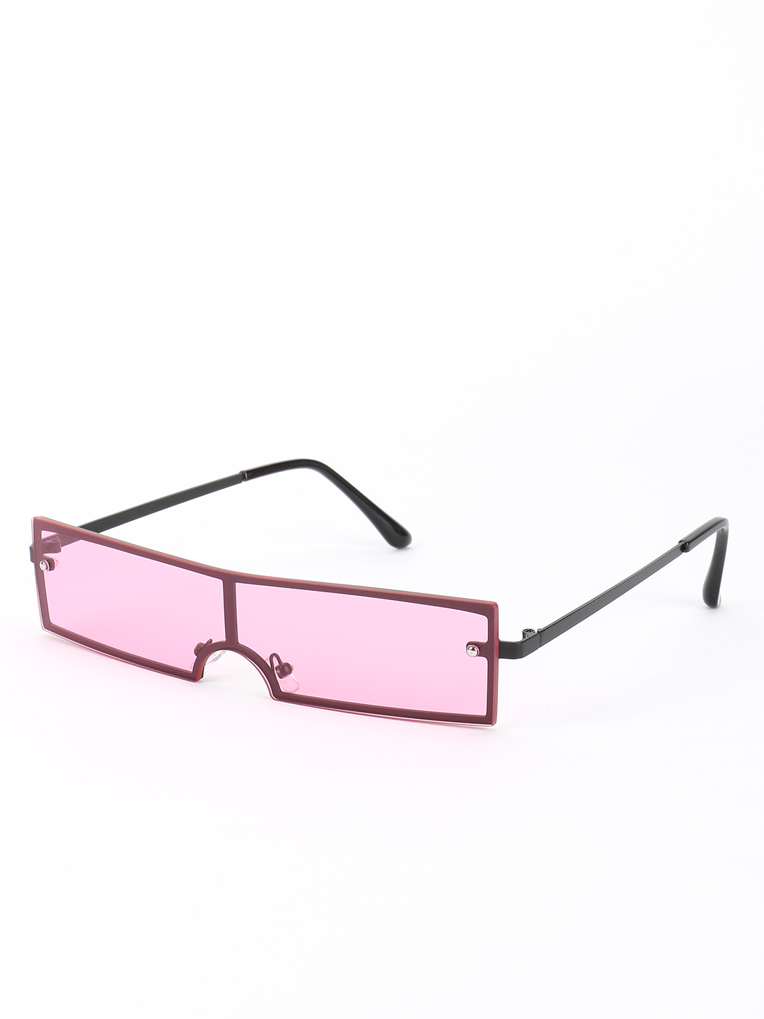 Sneak-a-Peek Pink Rectangular Futuristic Classic Sunglasses 1