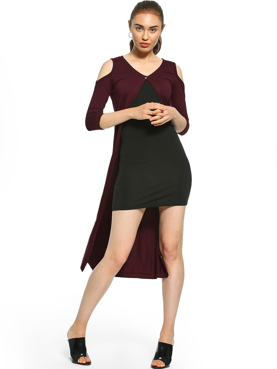 The Dry State Maroon Cold Shoulder Shrug 1