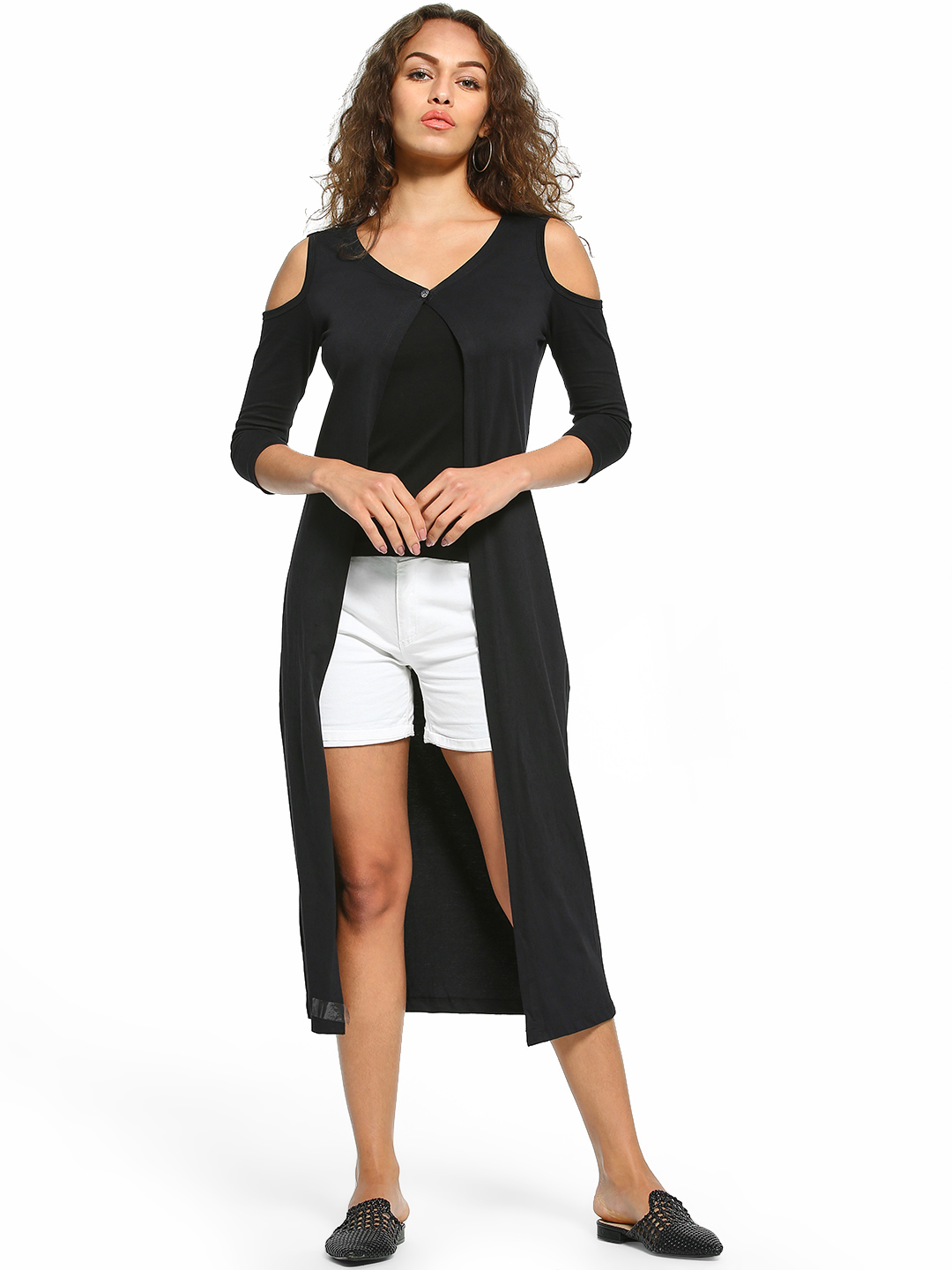 The Dry State Black Cold Shoulder Longline Shrug 1