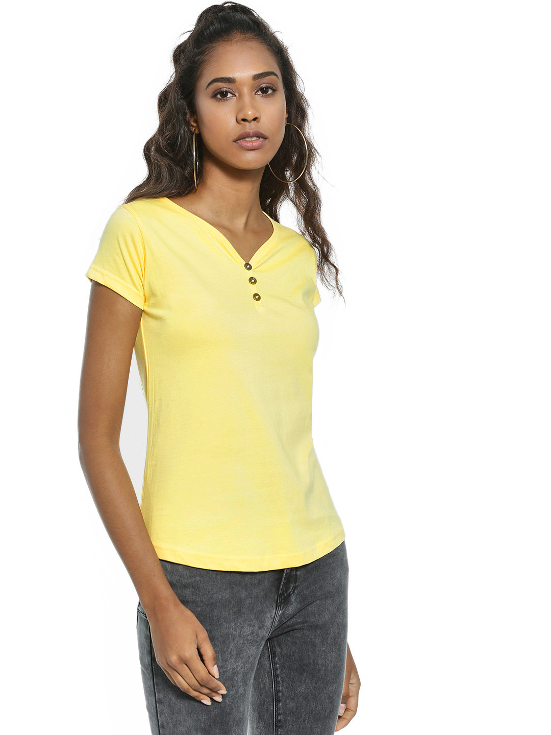 The Dry State Yellow Basic Button-Front T-Shirt 1