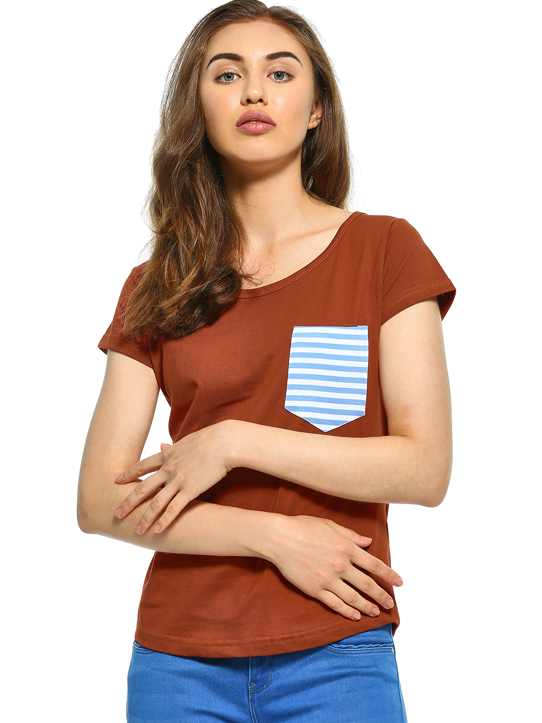 The Dry State Brown Stripe Patch Pocket T-Shirt 1