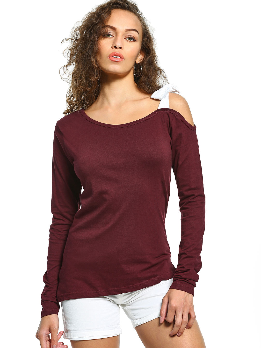 The Dry State Maroon Cold Shoulder Long Sleeve T-Shirt 1