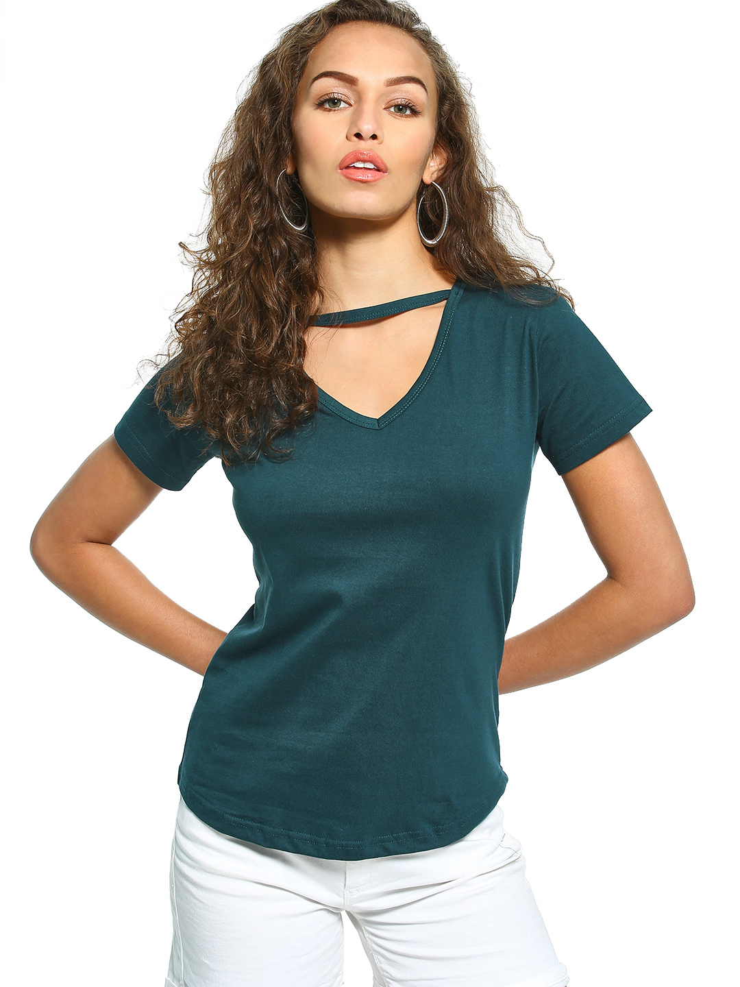 The Dry State Teal Cut-Out V-Neck T-Shirt 1