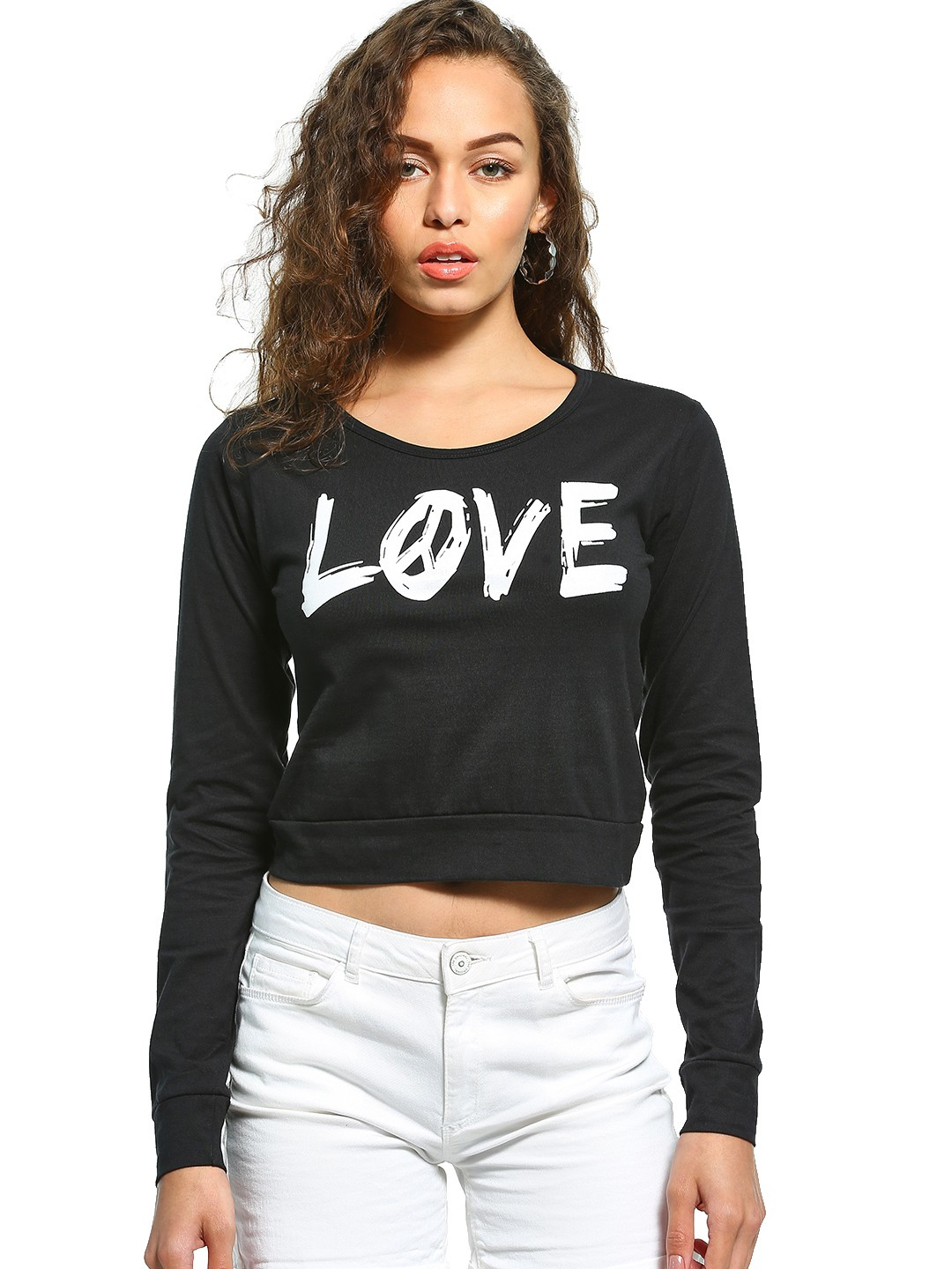 The Dry State Black Love Print Crop T-Shirt 1