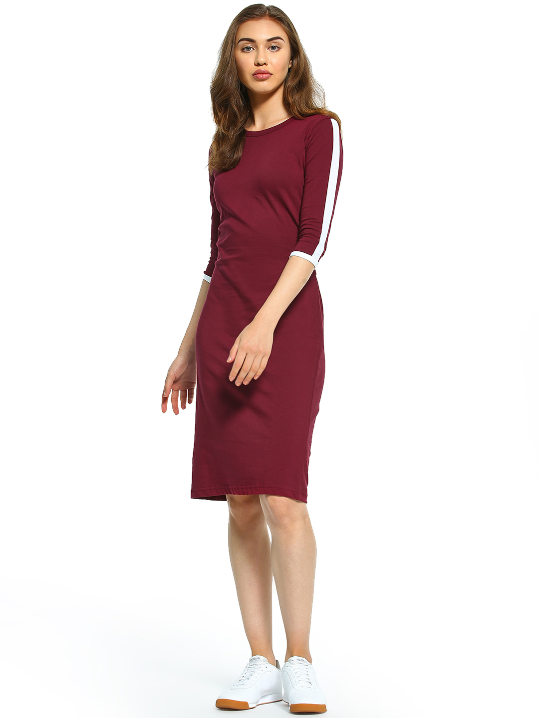 The Dry State Maroon Contrast Side Tape Midi Dress 1