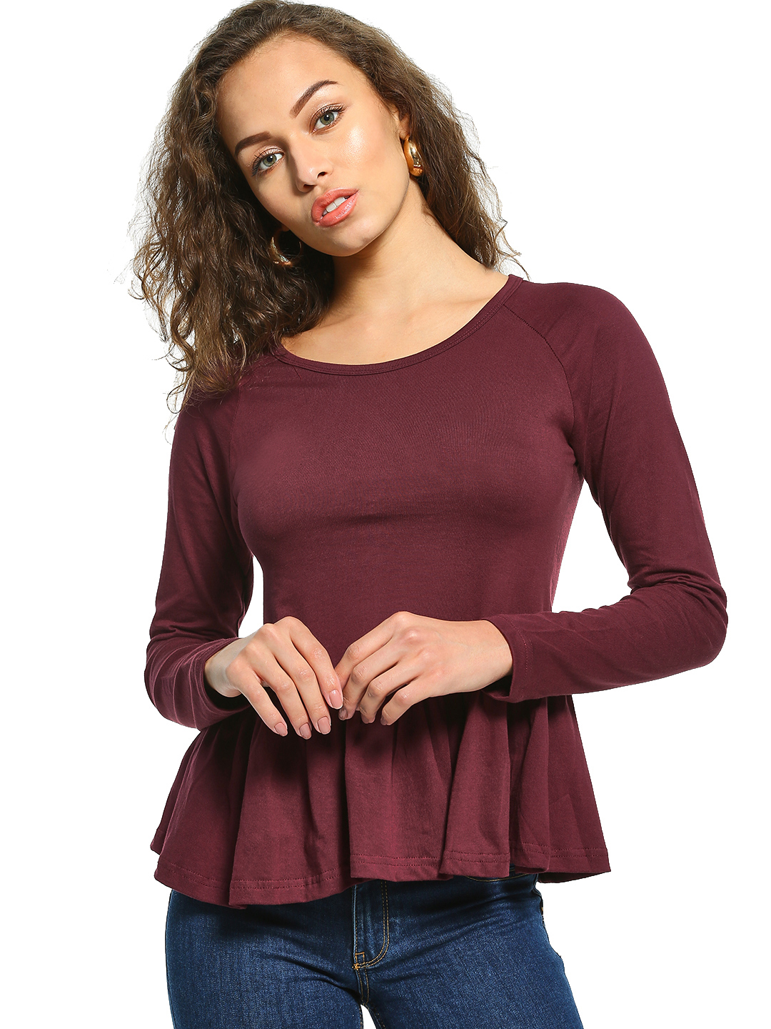 The Dry State Maroon Long Sleeve Peplum Blouse 1