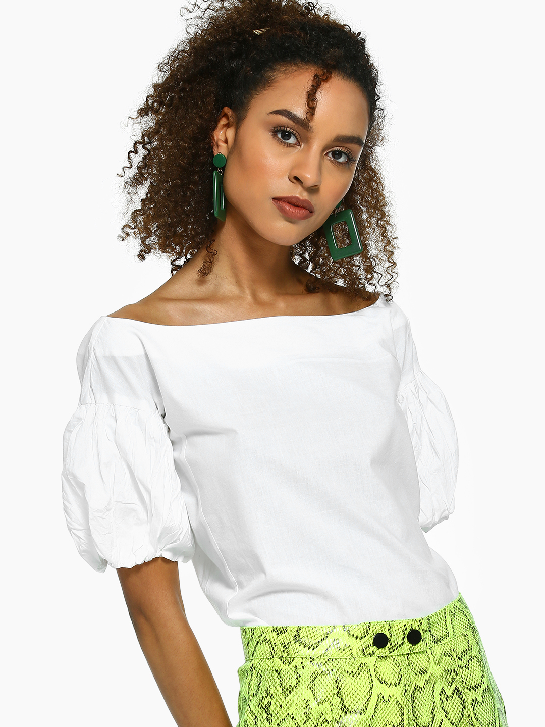 KOOVS White Boat Neck Puff Sleeve Top 1