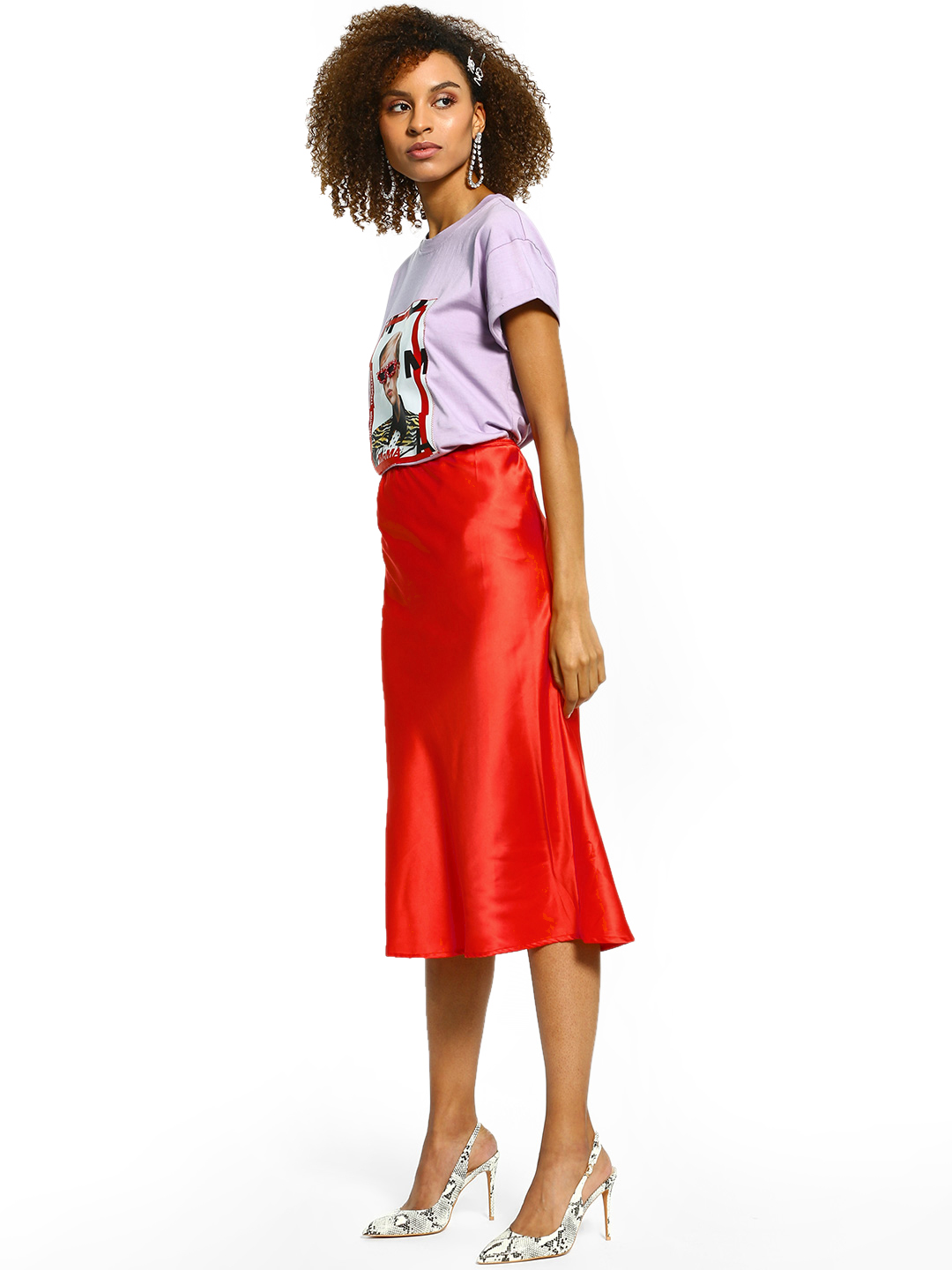 KOOVS Orange Satin Slip Midi Skirt 1