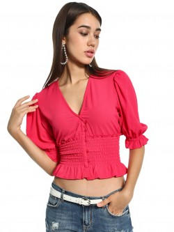 KOOVS Overlap Neck Shirred Crop Top
