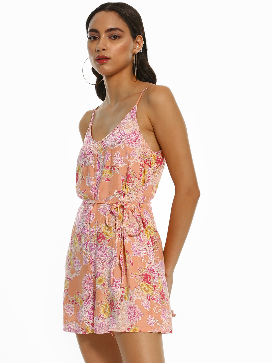 New Look Pink Floral Paisley Print Playsuit 1