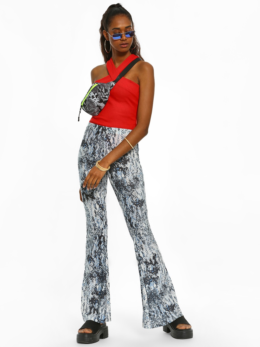 New Look Multi Glitter Snake Print Trousers 1